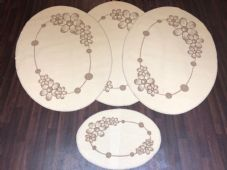 ROMANY GYPSY WASHABLES MATS FULL SET OF 4 MATS/RUGS X LARGE 100X140CM OVAL CREAM
